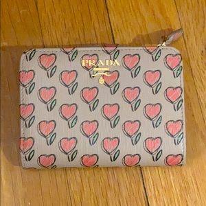 Prada Heart Print Saffiano Leather Wallet NWT